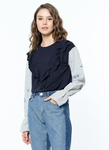 Koton Fırfır Detaylı Sweatshirt Mavi